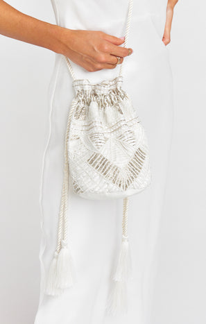 Cleobella x Mumu Penelope Beaded Bucket Bag ~ White