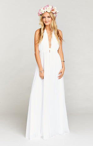 Luna Halter Dress ~ White Chiffon