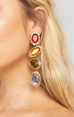 Salma Drop Earrings ~ Gold/Rainbow