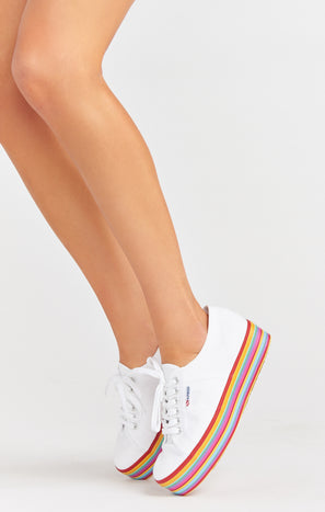 Superga 2790 Platform Sneakers White/Rainbow