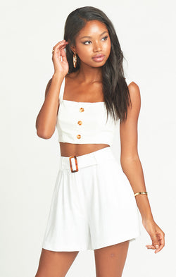 Percy Shorts ~ White Linen