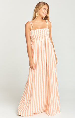 Maggie Maxi Dress ~ Dreamsicle Stripe Linen