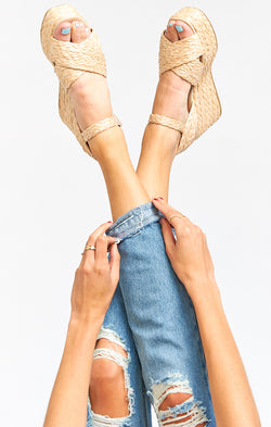 Steve Madden Pam Raffia Wedge Heels ~ Natural