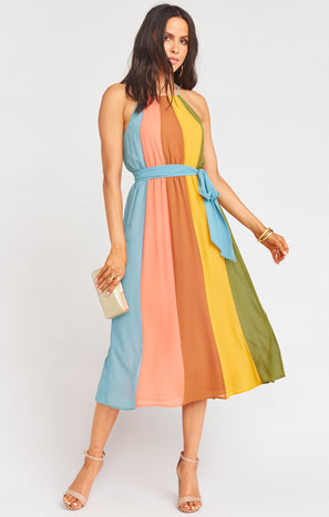 Nadia Paneled Dress ~ Desert Bloom Colorblock