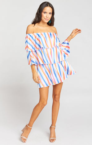 Triple Decker Romper ~ Spring Has Sprung Stripe