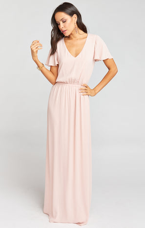 Michelle Flutter Maxi Dress ~ Dusty Blush Crisp