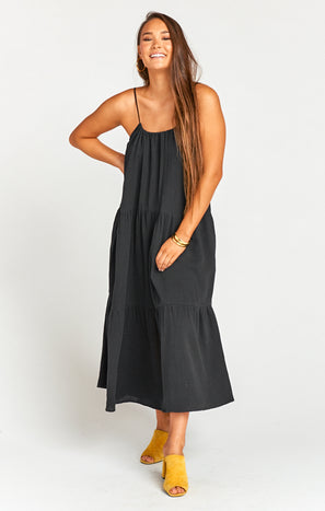 May Maxi Dress ~ Black Crinkle Gauze