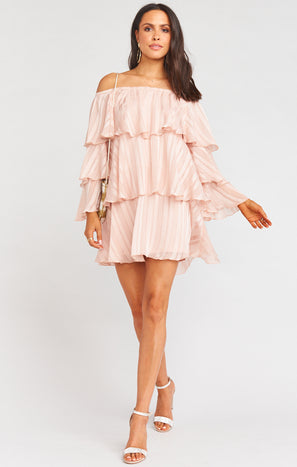 Chicka Chicka Dress ~ Flutter Stripe Chiffon Blush