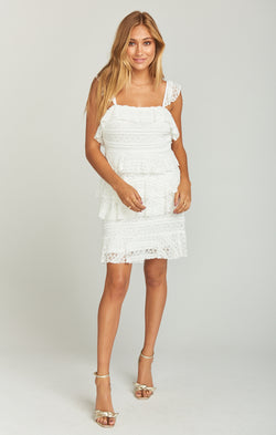 Tracy Tiered Ruffle Dress ~ One and Only Lace White