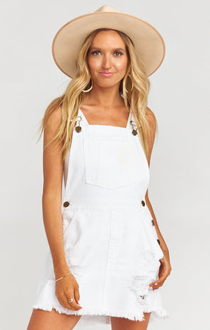Georgia Overalls Dress ~ Foam White