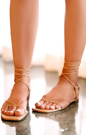 Billini Amina Wrap Up Sandals ~ Desert Tan
