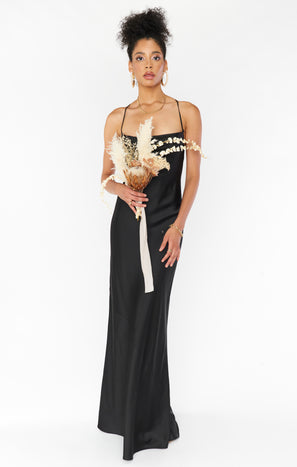 Tuscany Maxi Slip Dress ~ Black Luxe Satin