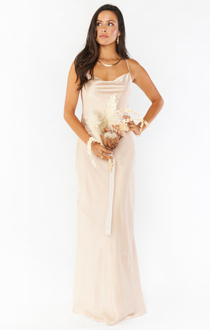 Tuscany Maxi Slip Dress ~ Champagne Luxe Satin
