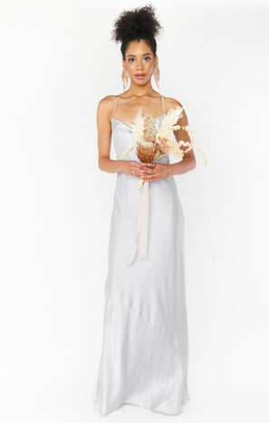 Tuscany Maxi Slip Dress ~ Silver Luxe Satin