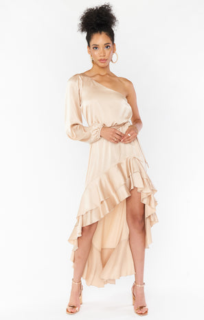 Stunner Maxi Dress ~ Champagne Luxe Satin