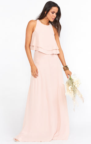 Princess Di Maxi Skirt ~ Dusty Blush Crisp