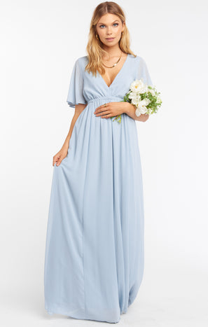 Emily Maxi Dress ~ Steel Blue Chiffon