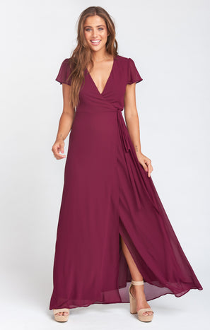 Noelle Wrap Dress ~ Merlot Chiffon