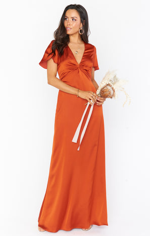 Rome Twist Gown ~ Burnt Orange Luxe Satin