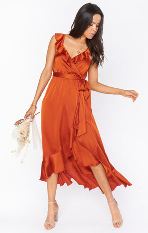 Samantha Ruffle Wrap Dress ~ Burnt Orange Luxe Satin