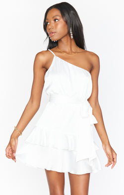 Superstar Ruffle Mini Dress ~ Ivory Luxe Satin