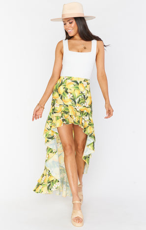 Angelina High Low Skirt ~ Citrus Stretch