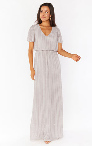 Michelle Flutter Maxi Dress ~ Dove Grey Beaded