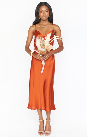 Verona Cowl Dress ~ Burnt Orange Luxe Satin
