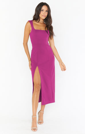 Eden Midi Dress ~ Fuchsia Rose Stretch Crepe