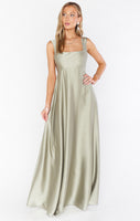 Elasticized Waistline Square Neck Full-Skirt Satin Fitted Party Dress/Wedding Dress/Maxi Dress