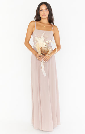 Lauren Tie Maxi Dress ~ Soft Beige Chiffon