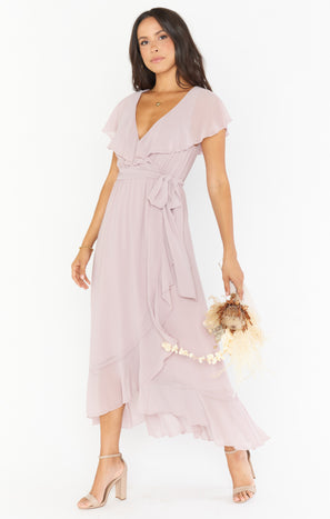Jess Ruffle Midi Dress ~ Neutral Mauve Chiffon