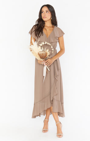 Jess Ruffle Midi Dress ~ Dune Chiffon