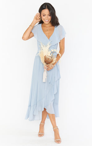 Jess Ruffle Midi Dress ~ Steel Blue Chiffon