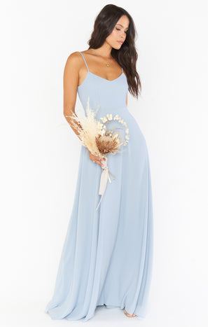 Faith Maxi Dress ~ Steel Blue Chiffon
