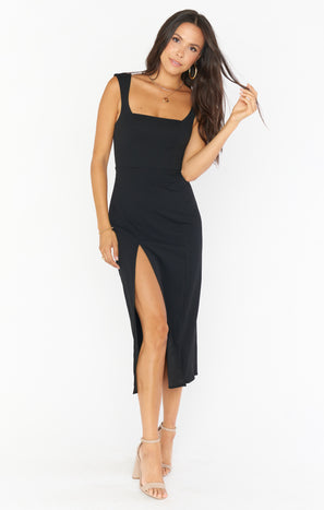 Eden Midi Dress ~ Black Stretch