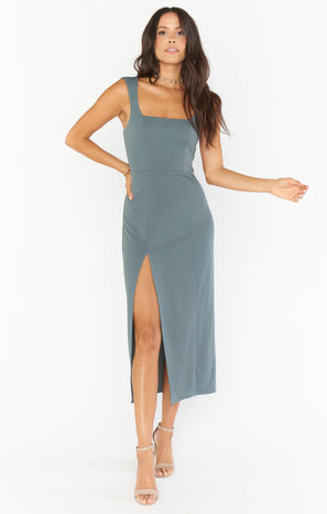 Eden Midi Dress ~ Dusty Sage Stretch