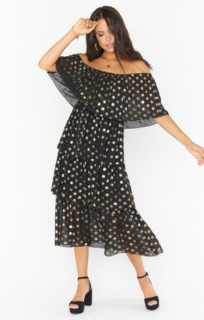 Lana Midi Dress ~ Gold Cosmic Dot