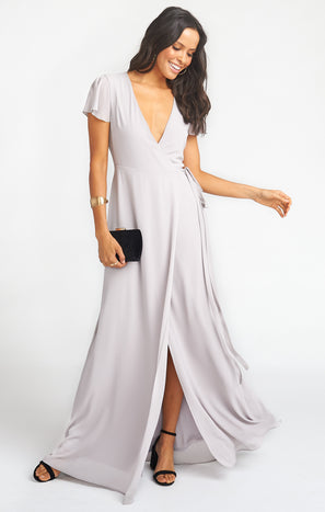 Noelle Wrap Dress ~ Dove Grey Chiffon