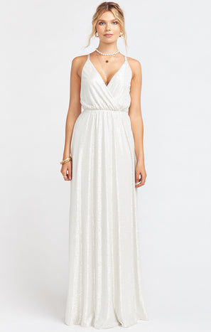 Dazzle Crossover Maxi Dress ~ Roller Glitz Ivory