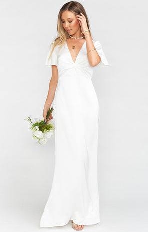 Rome Twist Gown ~ Ivory Luxe Satin