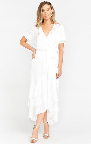 Evermore Ruffle Wrap Dress ~ Ivory Luxe Satin