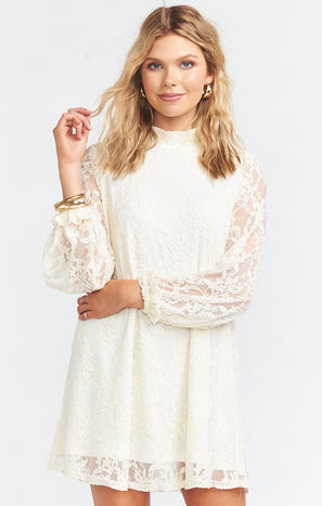 Francie Flow Mini Dress ~ Flower Chain Lace Cream