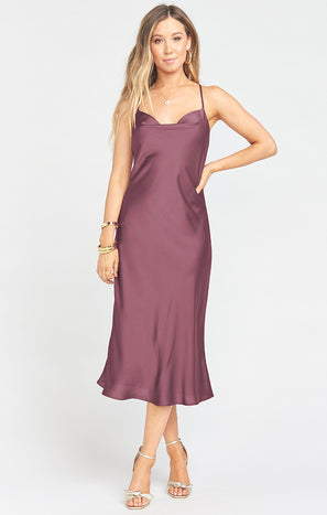 Verona Cowl Dress ~ Dusty Plum Luxe Satin