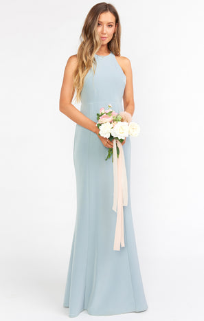 Chicago High Neck Gown ~ Silver Sage Stretch Crepe