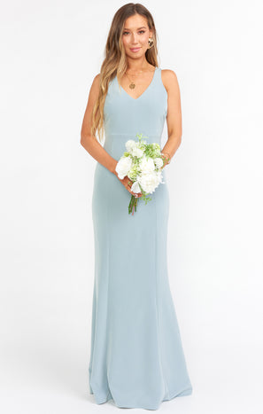 Morgan Gown ~ Silver Sage Stretch Crepe