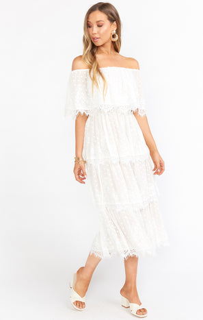 Lana Midi Dress ~ White Lace