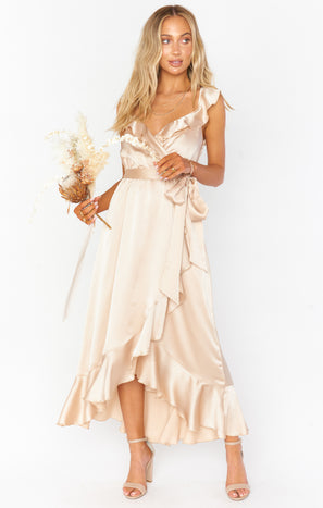 Samantha Ruffle Wrap Dress ~ Champagne Luxe Satin