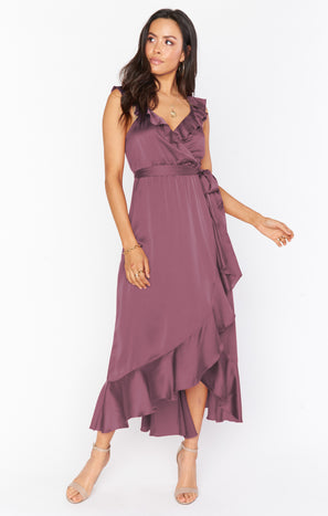 Samantha Ruffle Wrap Dress ~ Dusty Plum Luxe Satin