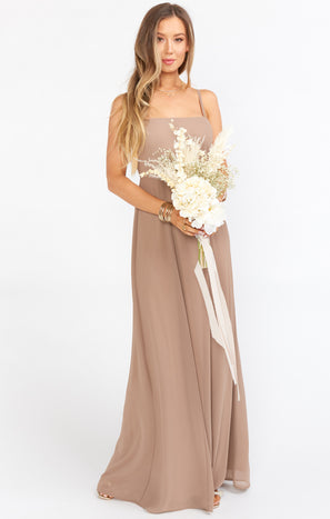 Lauren Tie Maxi Dress ~ Dune Chiffon